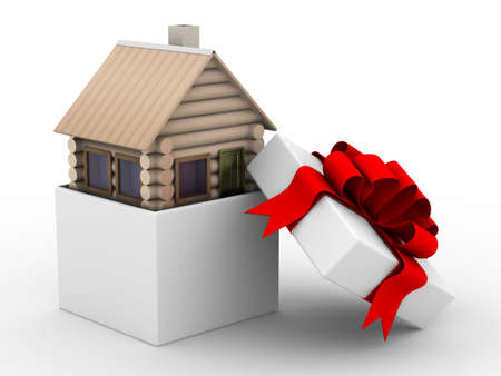 house in a gift box. Isolated 3D image photo
