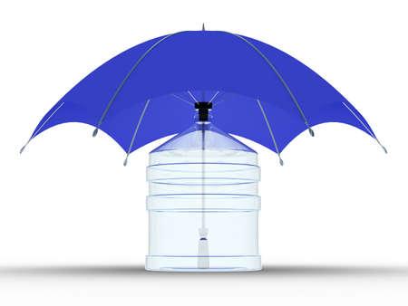 cruet: Glass bottle under a umbrella. Isolated 3D image