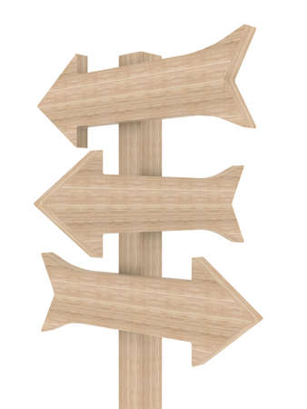 Wooden directional marker on a white background. Isolated 3D image photo