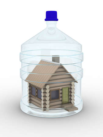 cruet: Wooden small house in a glass bottle. Isolated 3D image