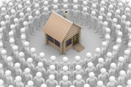 Group of people round a wooden small house. 3D image. photo
