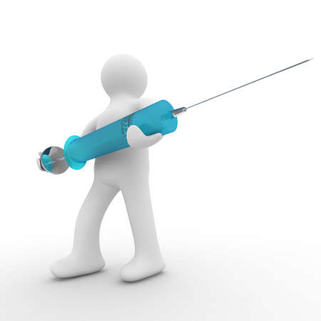 doctor with syringe. Isolated 3D image photo
