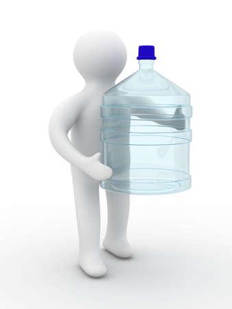 cruet: man carries a bottle. Isolated 3D image