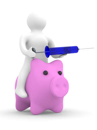 doctor puts injection to pig. Isolated 3D image. swine flu Stock Photo - 4800635