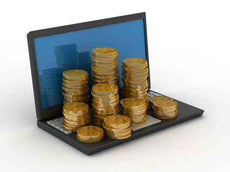 Computer and cashes. Isolated 3D image Stock Photo - 4815991