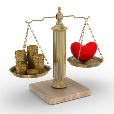 change concept: Heart and money for scales. Isolated 3D image.