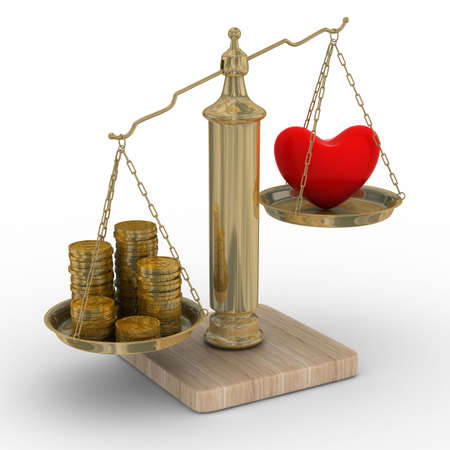 Heart and money for scales. Isolated 3D image. photo