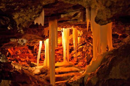 speleology: grotto in Kungur ice cave Stock Photo