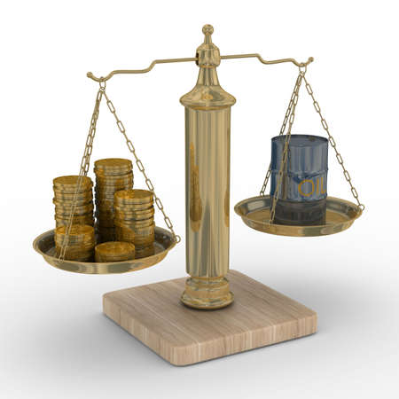 equilibrium: Oil and money for scales. Isolated 3D image.