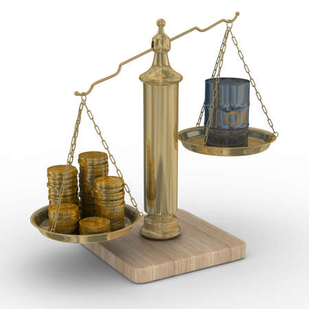 hogshead: Oil and money for scales. Isolated 3D image.