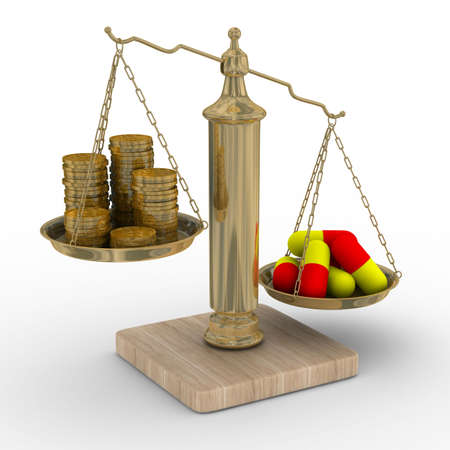 equilibrium: Paid medicine. Cost of treatment. Isolated 3D image  Stock Photo