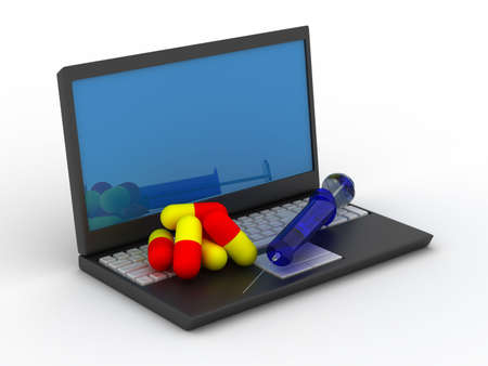 Treatment for computer dependence. Isolated 3D image Stock Photo - 4875272