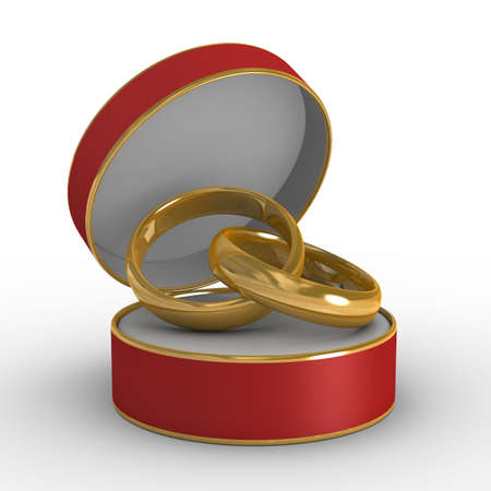 Red casket with two wedding rings. Isolated 3D image Stock Photo - 4875264