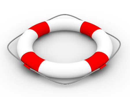 Lifebuoy on a white background. Isolated 3D image photo