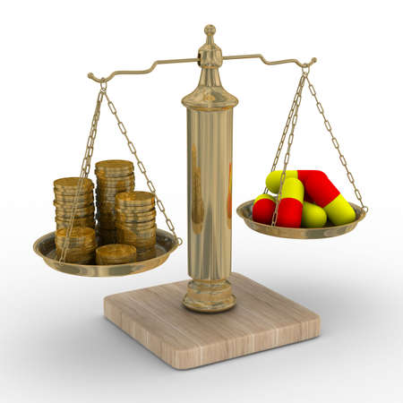 paid medicine: Paid medicine. Cost of treatment. Isolated 3D image Stock Photo