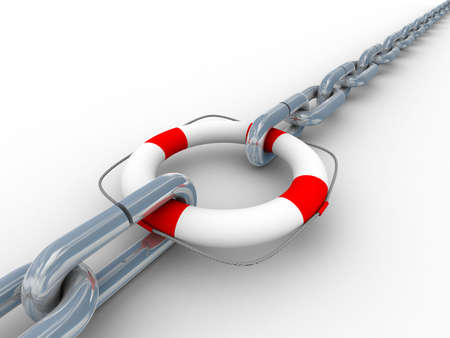 Chain fastened by lifebuoy. Isolated 3D image. Stock Photo - 4886340