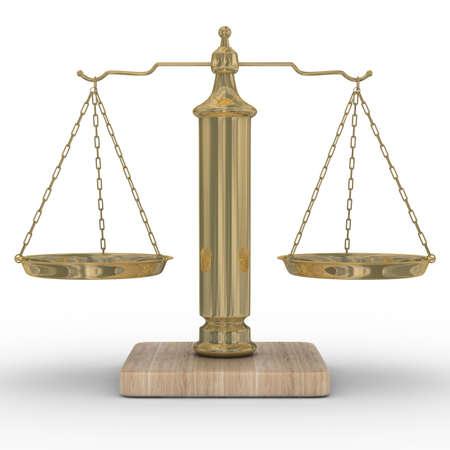 balance de la justice: Balances de justice sur un fond blanc. Isolated image 3D