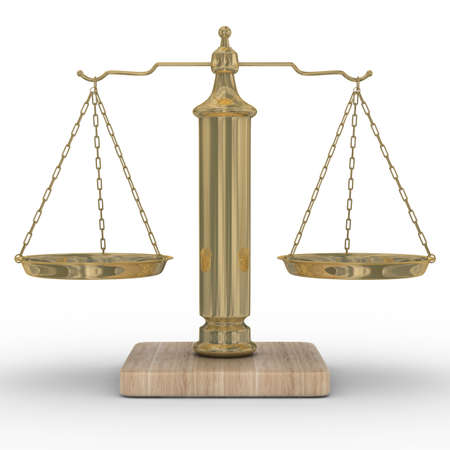 Scales justice on a white background. Isolated 3D image photo