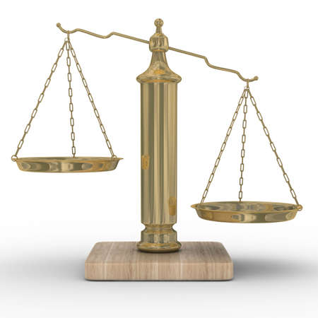 Scales justice on a white background. Isolated 3D image Stock Photo - 4993013