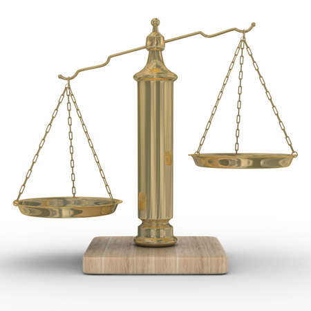 balanza justicia: Escalas de la justicia sobre un fondo blanco. Aislados imagen en 3D