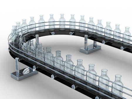cinta transportadora: cinta transportadora con botellas en el fondo blanco. Aislados imagen en 3D