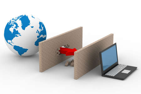 Protegidos de la red mundial de Internet. Imagen en 3D.