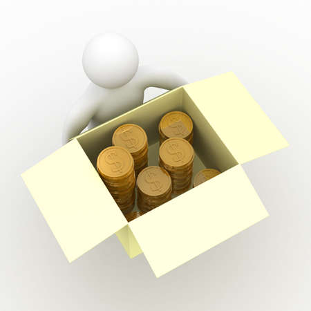 conveyance: loader hold box with cash. Isolated 3D image.