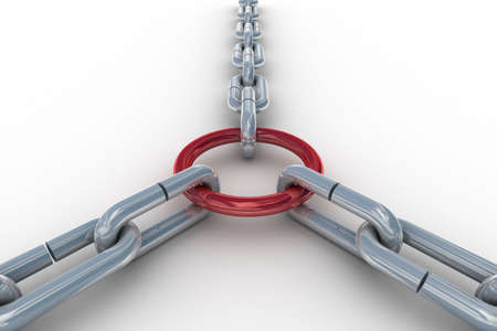 Chain fastened by a red ring. 3D image Stock Photo - 5116715