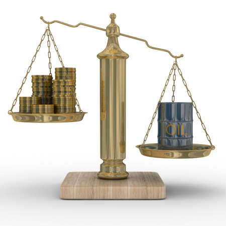 hogshead: Oil and money for scales. Isolated 3D image Stock Photo