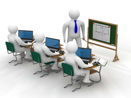 computer training: Lesson in a school class. Isolated 3D image.