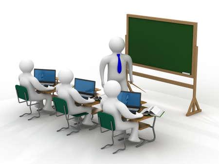teacher student: Lecci�n de una clase. Aislados imagen en 3D.