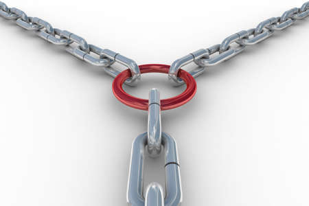 Chain fastened by a red ring. 3D image Stock Photo - 5155991