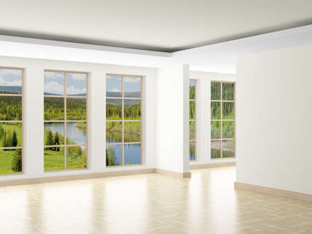 Empty room. Landscape behind window. 3D image photo