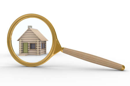 realestate: house and magnifier on white background. Isolated 3D image