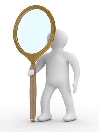 schoolkid search: Hombre con lupa sobre fondo blanco. Aislados imagen en 3D