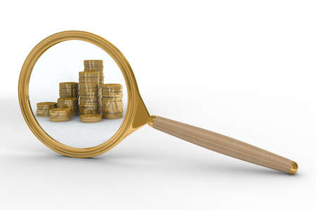 scrutiny: Magnifier and money on white background. Isolated 3D image Stock Photo