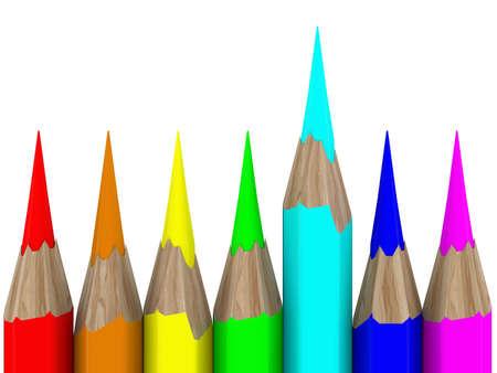 Set of pencils on white background. Isolated 3D image photo