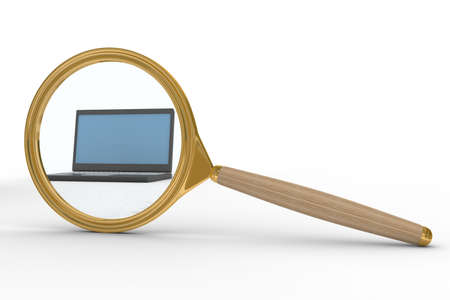 Magnifier and laptop on white background. Isolated 3D image  Stock Photo - 5299222