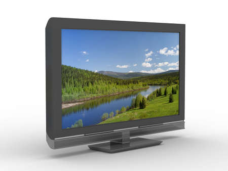 flat screen tv: TV on white background. Isolated 3D image Stock Photo