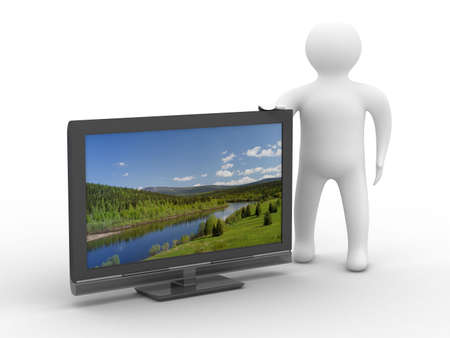 hd: TV and man on white background. Isolated 3D image Stock Photo