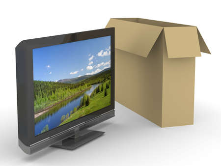 TV and box on white background. Isolated 3D image Stock Photo - 5344330
