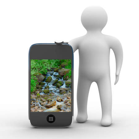 gprs: man and phone. Isolated 3D image