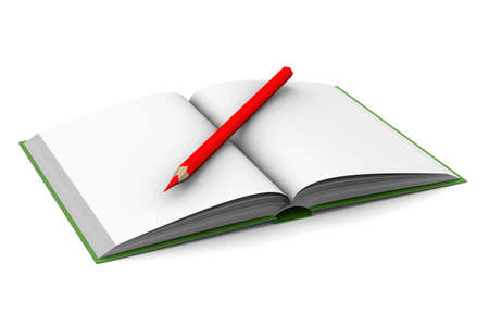 Opening book and pencil on white background. 3D image photo