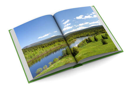 photo album page: Opening book on white background. 3D image Stock Photo