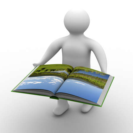 man holds open book on white background. Isolated 3D image Stock Photo - 5344326