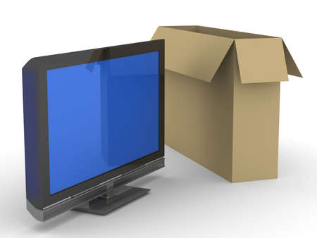hd: TV and box on white background. Isolated 3D image