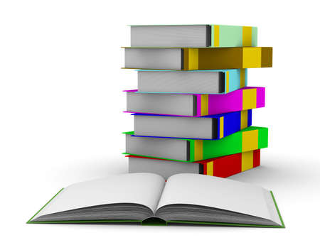 pile of books on white background. Isolated 3D image Stock Photo - 5344347
