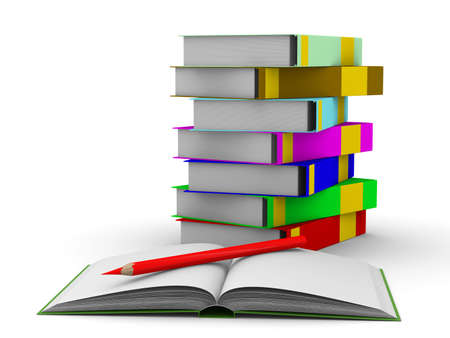 pile of books on white background. Isolated 3D image Stock Photo - 5344344