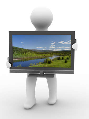 lcd screen: TV and man on white background. Isolated 3D image Stock Photo