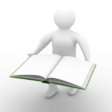 scientific literature: man holds open book on white background. Isolated 3D image